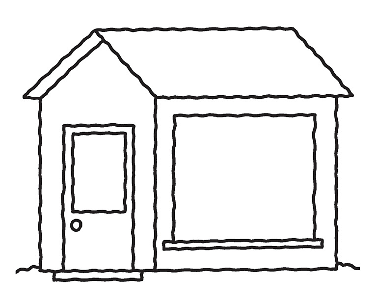 Line Art House Images : Colorings line art house drawing
