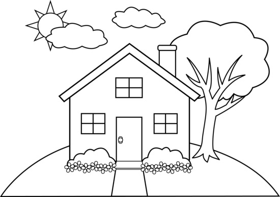 Colorings line art house drawing for Draw your house