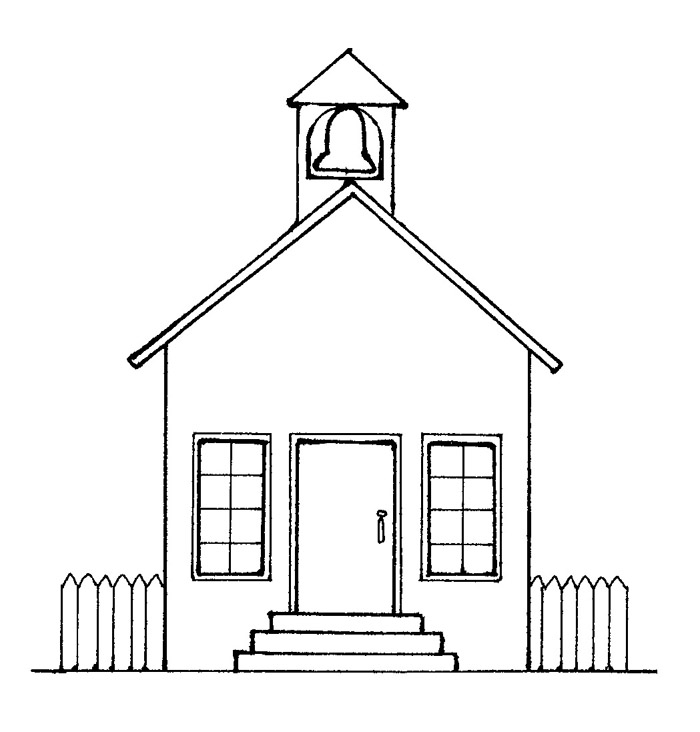 Colorings School House Drawing School House Coloring Page