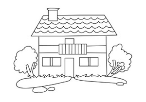 Homes on color drawings of houses